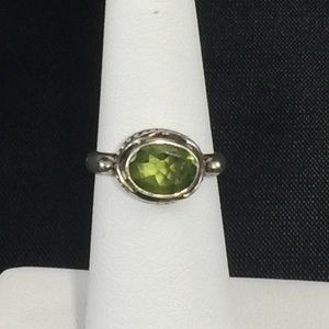 Peridot ring, sterling silver